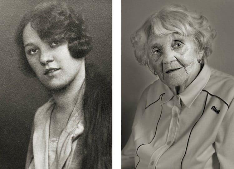 A fotós elárulta, teljesen lenyűgözték az idős emberek történetei. A képeken Vlasta Čížková szerepel 23, illetve 101 évesen.