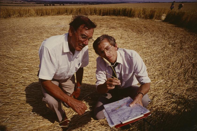 Szakértők vizsgálják a gabonaköröket 1990-ben Salisbury városa környékén.