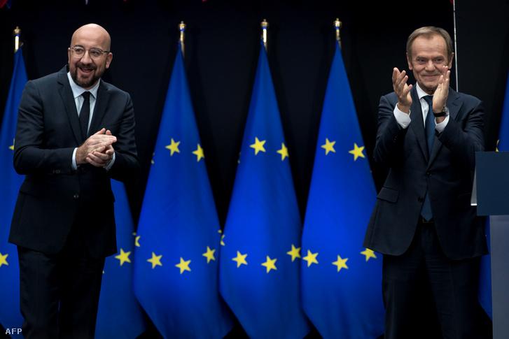 Charles Michel az Európai Tanács új elnöke és Donald Tusk leköszönő elnök Brüsszelben 2019. november 29-én