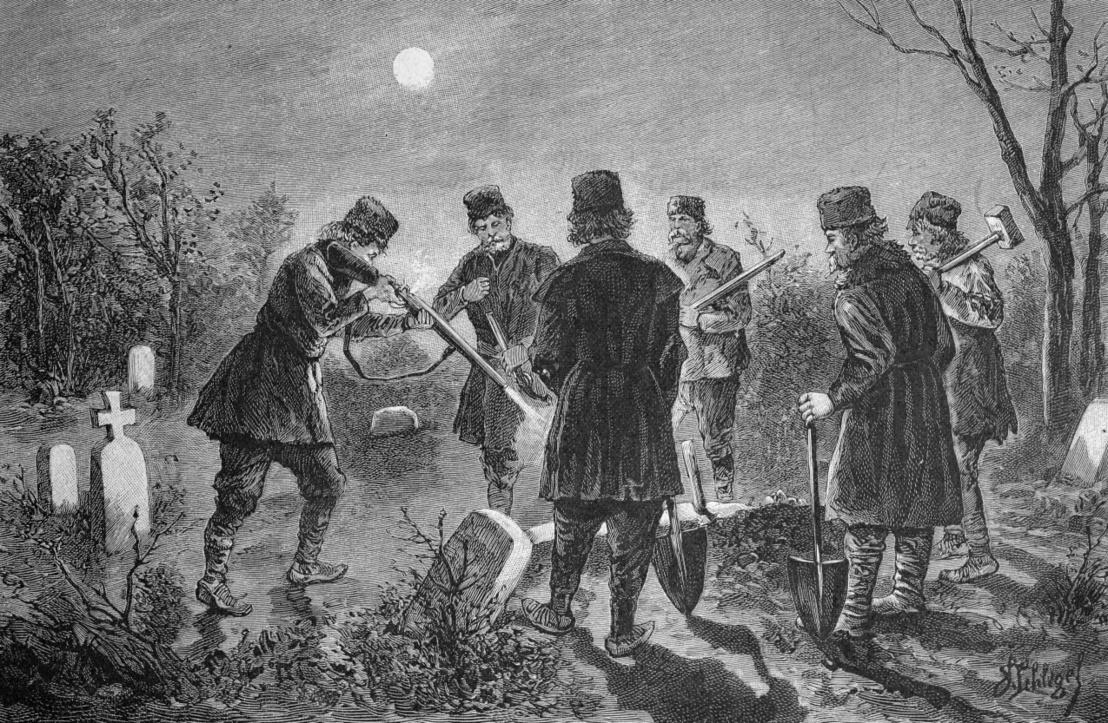 Egy vámpír temetése az 1800-as években Romániában egy korabeli rajzon