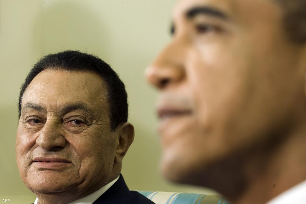 Mubarak és Barack Obama a Fehér Házban 2009. augusztus 18-án.