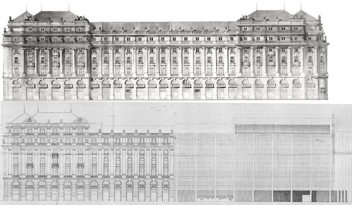 Változatok a déli térfalra: a Hültl-féle egységes homlokzat és a MTESZ-székház terve
