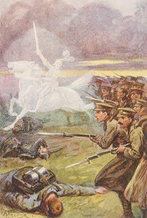Első világháborús propagandaposzter a brit csapatokat vezető angyallal