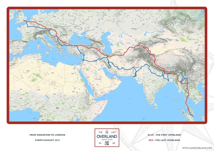 Az első (kék) és az utolsó (piros) Overland túra útvonala.