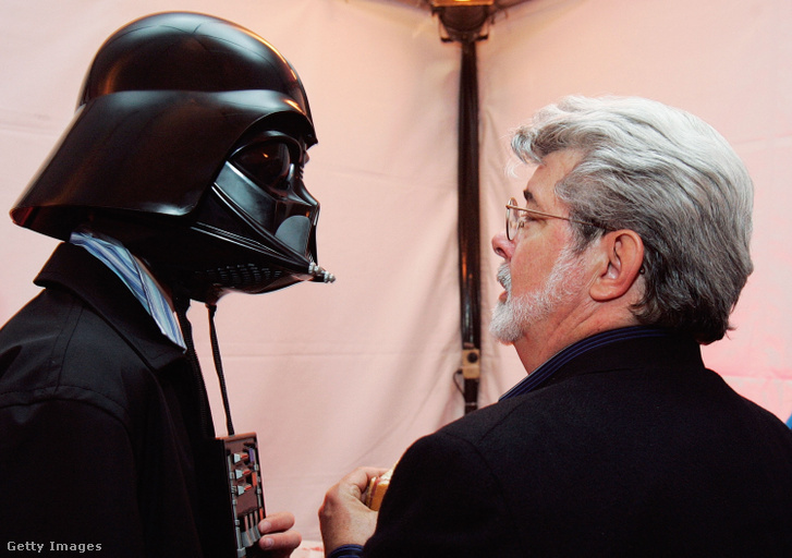 George Lucas Darth Vader maszkos fiával, Jett-tel 2005-ben