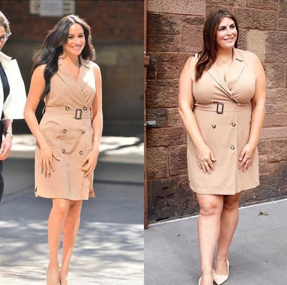A blogger hírességek szettjeit másolja le, és megmutatja, hogy mennyire jól mutatnak rajta is ugyanazok, illetve a nagyon hasonló ruhák. Legalább olyan csinos, mint Meghan hercegné.