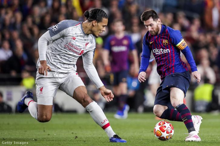 Virgil van Dijk és Lionel Messi a Liverpool-Barcelona mérkőzésen 2019. május 1-jén