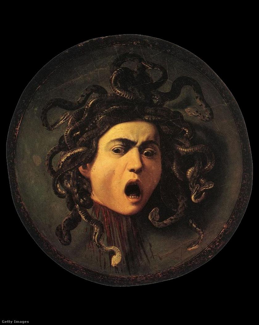 Caravaggio festménye, melyen Medúza látható.