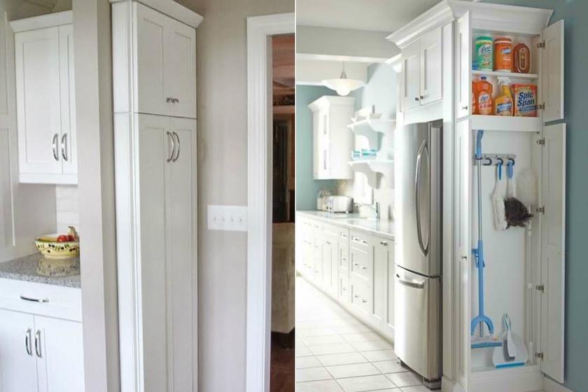 A konyhai tisztítószereket érdemes minél magasabban elhelyezni. Jó megoldás lehet egy zárható szekrény felső részén tárolni a vegyszereket.