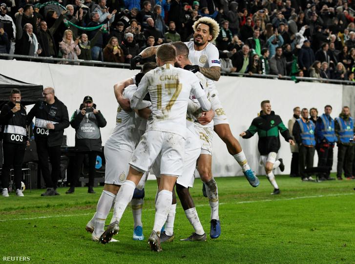 A Ferencváros játékosai az Espanyol elleni legutóbbi csoportmérkőzésen 2019. november 29-én.