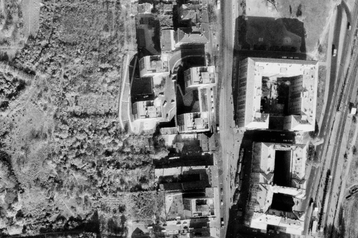 A Frankel Leó út azon szakasza, amelyet érintene a rendelőintézet építése 1971-ben.
