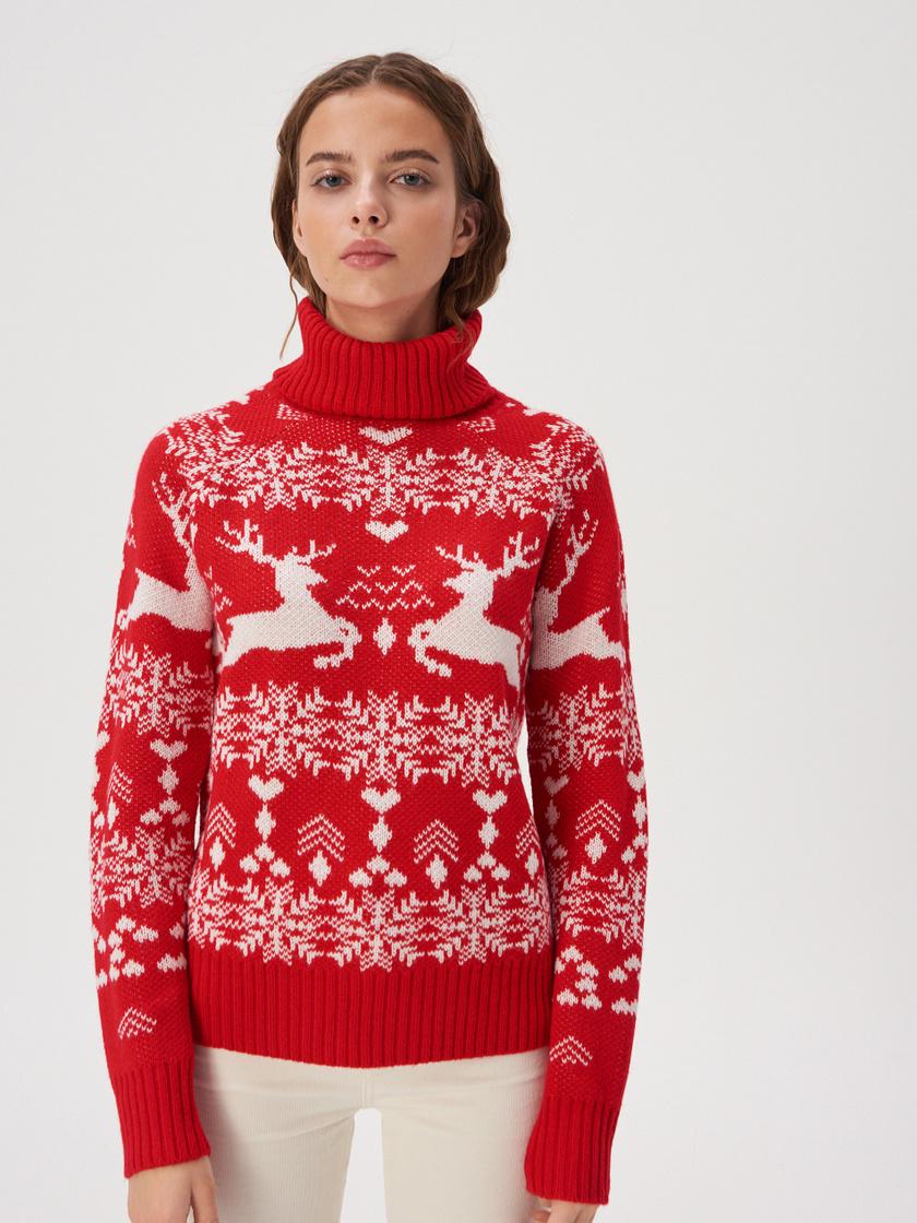 A karácsonyi pulcsik esetében nem nagyon van olyan, hogy túlzás. Jöhetnek a rénszarvasok és a hópelyhek is! A Sinsay piros, puha kötött darabja 5495 forint.