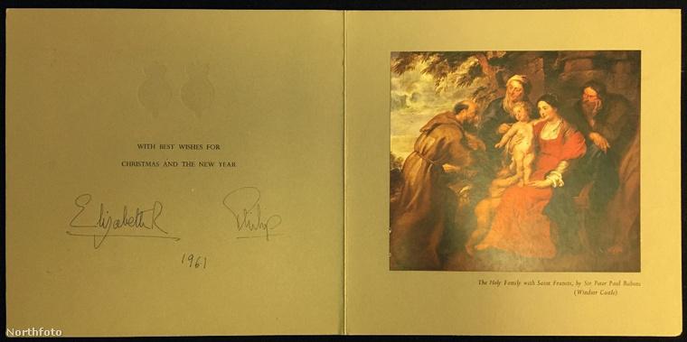 De 1961-ben megint egy vallásos festménnyel kívánta a legjobbakat a brit királynő és férje.