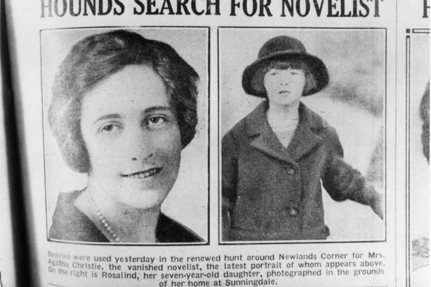 Az írónő és kislánya (jobb oldalt) egy korabeli újságban, mely az eltűnéséről ír