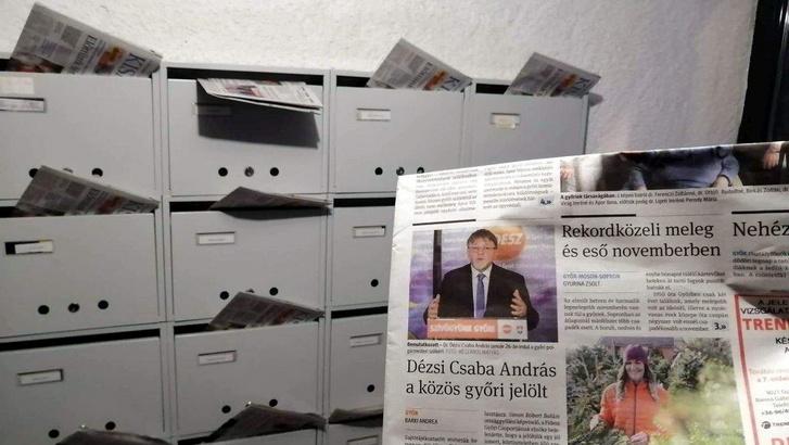 A Kisalföld szombati számának címlapja. Fotó: Azonnali/Olvasói fotó