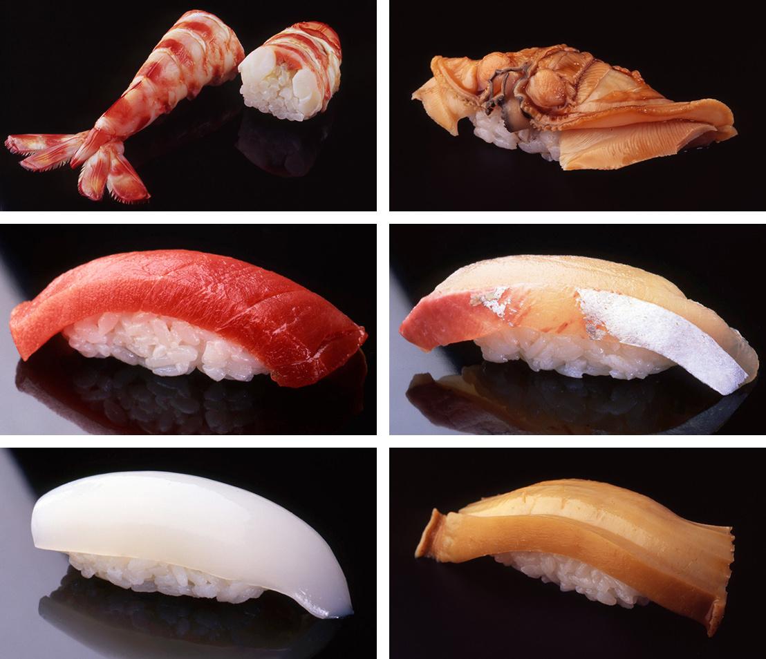 Különböző szusik a Szukijabasi Dzsiró kínálatából