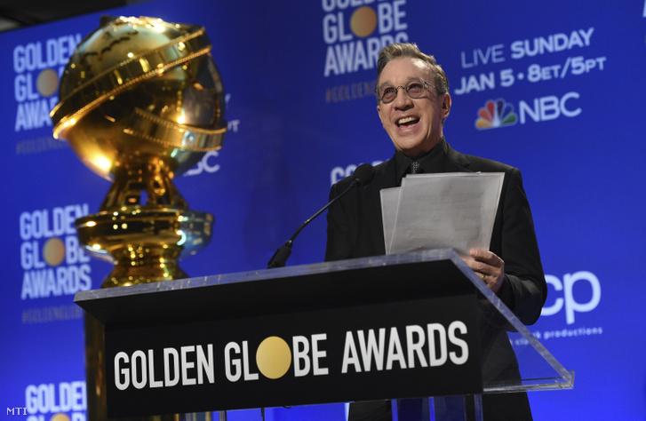 Tim Allen amerikai színész bejelenti a 77. Golden Globe-díj jelöltjeit Los Angelesben 2019. december 9-én.