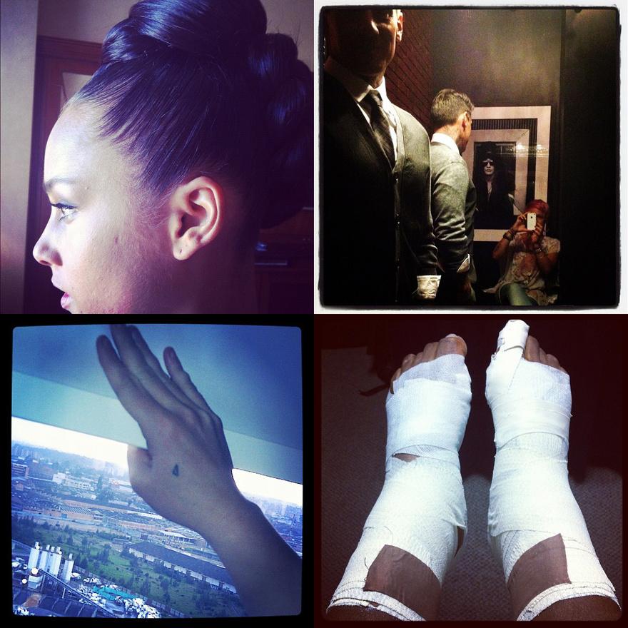 Sztárok - Alicia Keys, Pink, Britney Spears és Venus Williams - interneten megosztott Instagramjai.