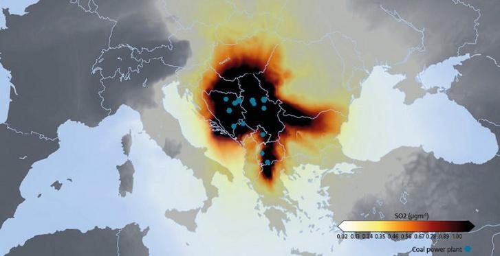 A térség 16 szénerőműve 2016-ban így terítette be kén-dioxiddal (SO2) a környéket.