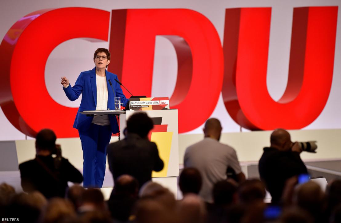 Annegret Kramp-Karrenbauer a CDU kongresszusán Lipcsében 2019. november 22-én