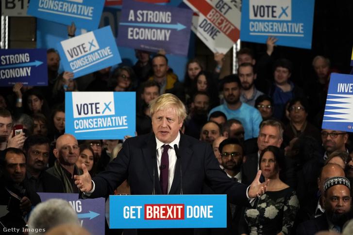 Boris Johnson egy kampányeseményen