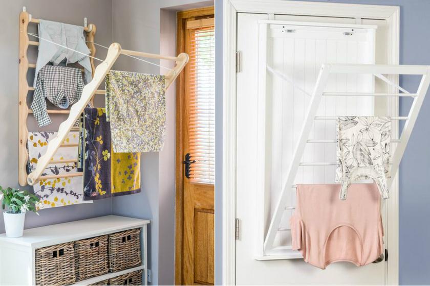 A falra szerelhető, kinyitható teregetők kisebb alapterületű lakásokba is ideálisak. Egy mosás simán elfér rajtuk.