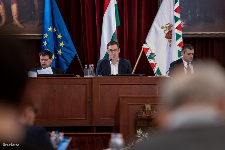 Karácsony Gergely főpolgármester (k) a Városháza dísztermében 2019. november 27-én
