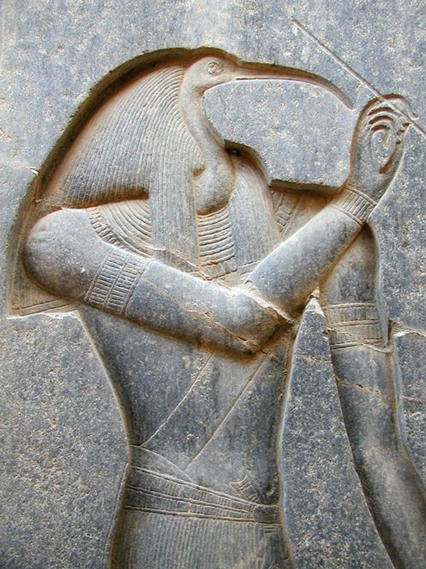 Thoth ábrázolása, kezében stílus íróeszközzel.