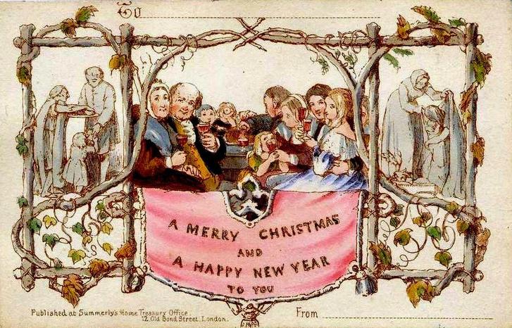A történelem legelső karácsonyi lapja (1843), melyből 1000 nyomat készült Londonban. Grafika: John Calcott Horsley