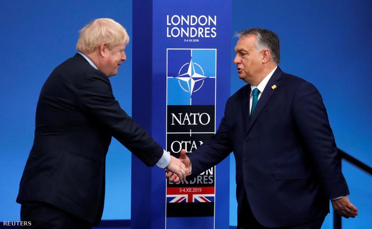 Boris Johnson és Orbán Viktor 2019. december 4-én.
