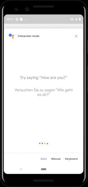 Google Assistant interpreter mode on mobile.gif