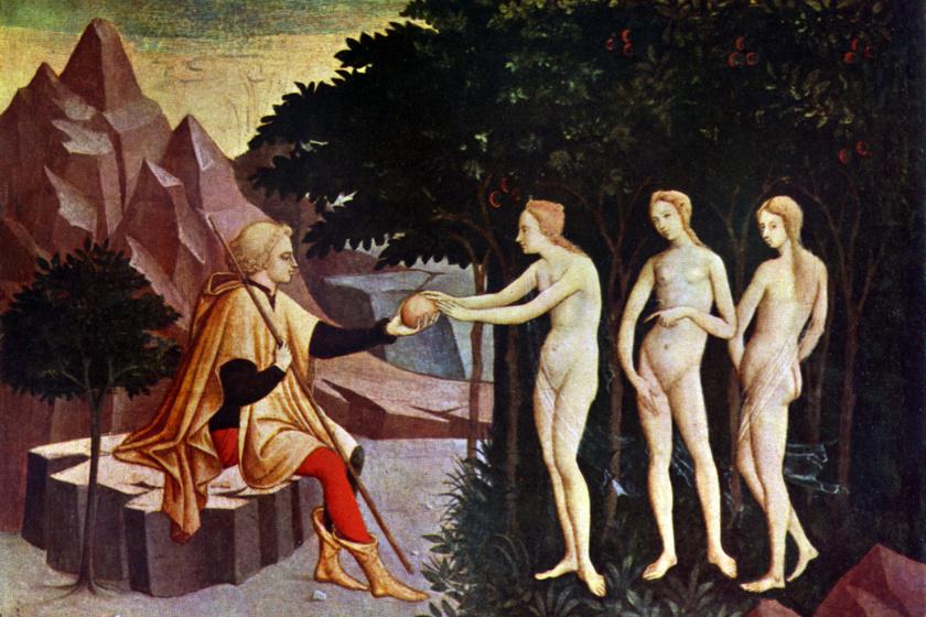 A középkorban a meztelen női testeket szinte mindig teljesen csupaszon ábrázolták, ahogyan ezen az 1450-es festményen is.
