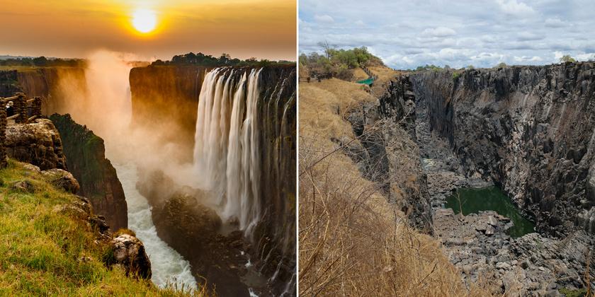 A Viktória-vízesés 2013 augusztusában és 2019. november 20-án.