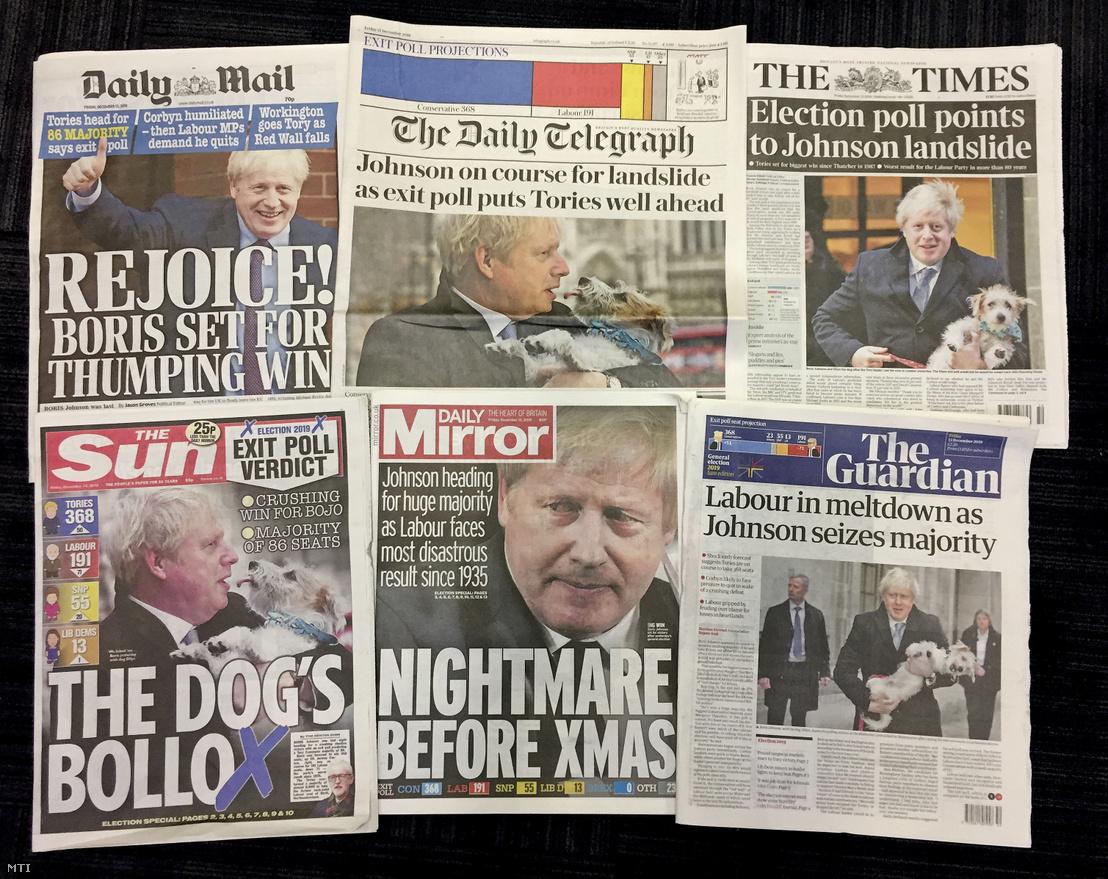 A Boris Johnson brit miniszterelnöknek a Konzervatív Párt vezérének győzelméről tudósító brit napilapok címlapja Londonban az előrehozott brit parlamenti választások másnapján 2019. december 13-án.