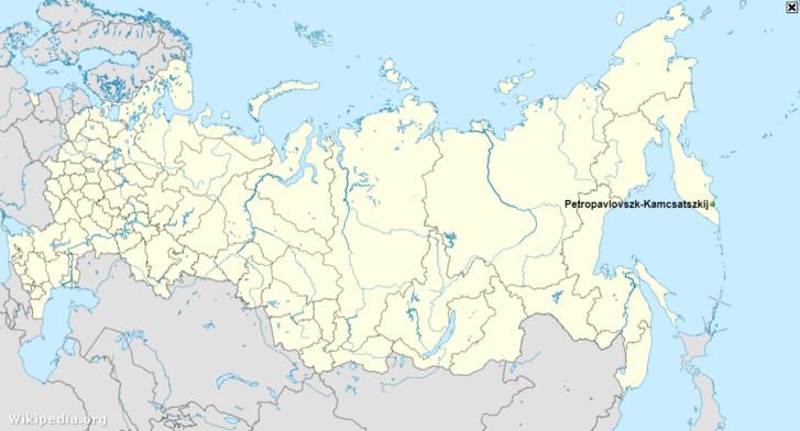 Petropavlovszk-Kamcsatszkij elhelyezkedése