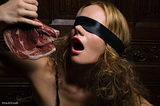 stockfresh 1350125 woman-biting-raw-meat sizeM