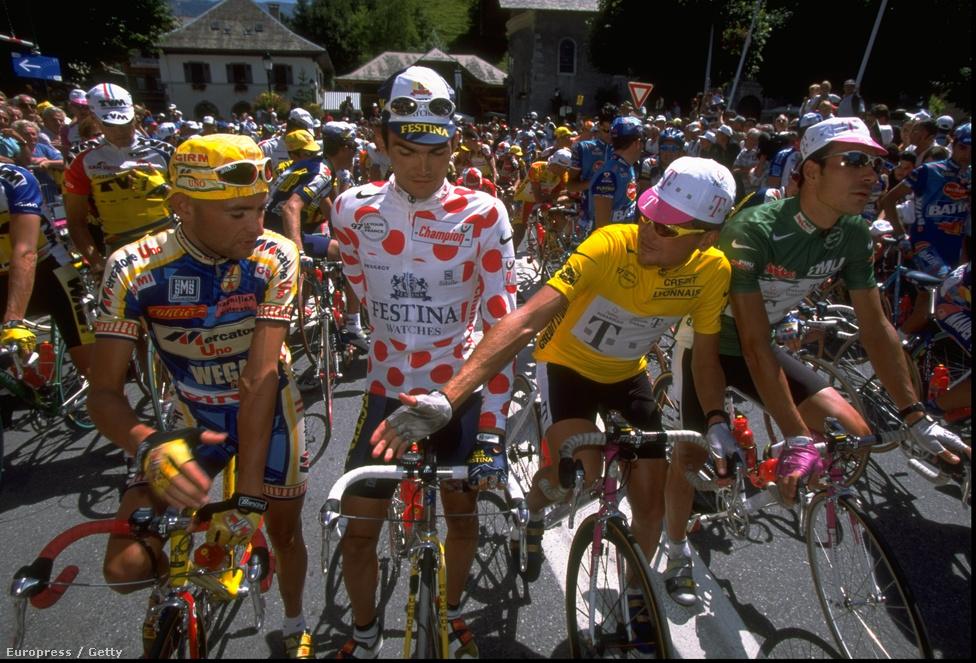 Három legenda együtt, Marco Pantani, Richard Virenque és Jan Ullrich. Utóbbi 1997-ben meg is nyerte a versenyt, Armstronggal is többször csatázott, de sohasem tudta legyőzni.