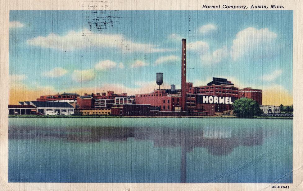Austin város büszkesége, a több ezer alkalmazottat foglalkoztató élelmiszeripari üzem egy XX. század eleji képeslapon.