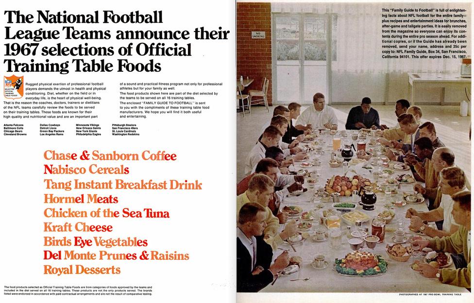 Érdekes kétoldalas hirdetés a Life magazin egyik 1967-es számában. A Nemzeti Futball Liga hivatalos edzéstáplálékai között ott vannak a Hormel húskészítményei is.