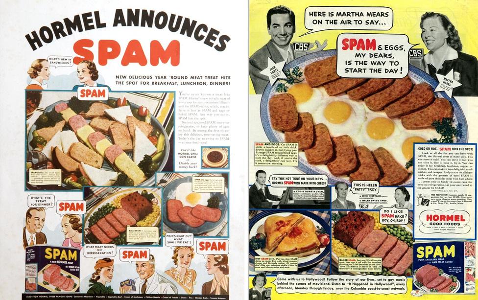 1937. július 5-én az austini Hormel Foods vállalat jóvoltából piacra kerül a húsipar és a konzervipar szerelemgyereke, a sertésből készült vagdalthúskonzerv. A Spam műfajteremtő termékké vált: Magyarországon löncshús néven ismert verziója elmaradhatatlan volt a közértek polcairól. A fenti, magazinokban közölt reklám szerint reggelire, ebédre és vacsorára egyaránt remek a Spam.