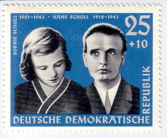 A Scholl testvéreknek emléket állító NDK-s bélyeg