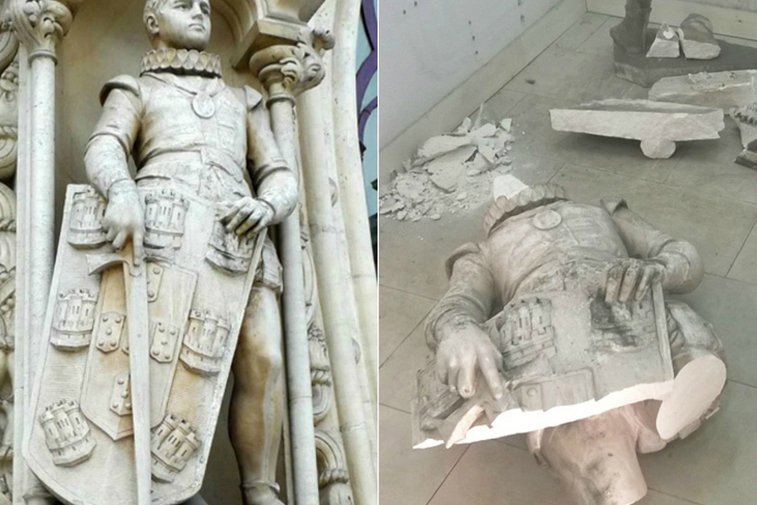 Egy turista ellenállhatatlan vágyat érzett arra, hogy a közel 130 éves Dom Sebastiãno, 16. századi király szobrával szelfizzen. A Portugália fővárosában található szobrot nem arra találták ki, hogy valaki rácsimpaszkodva pózoljon vele - így, mihelyst felmászott a turista, a szobor leesett és összetört. A rendőrök elkapták a fickót, aki megpróbált elmenekülni a tetthelyről.