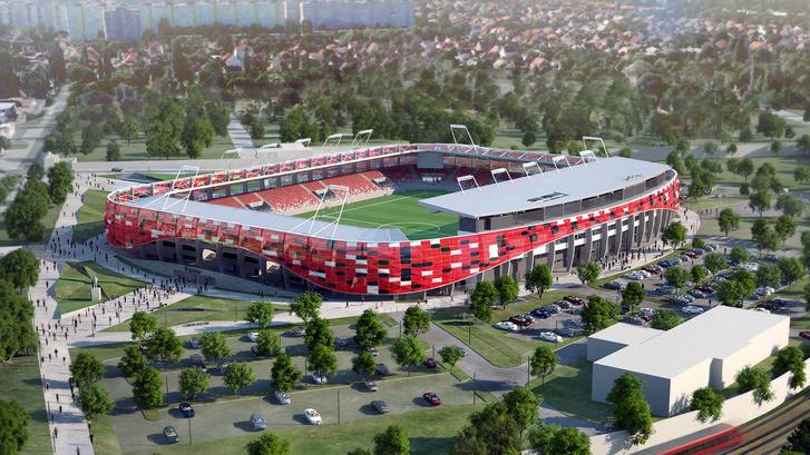 Az épülő Bozsik stadion látványterve