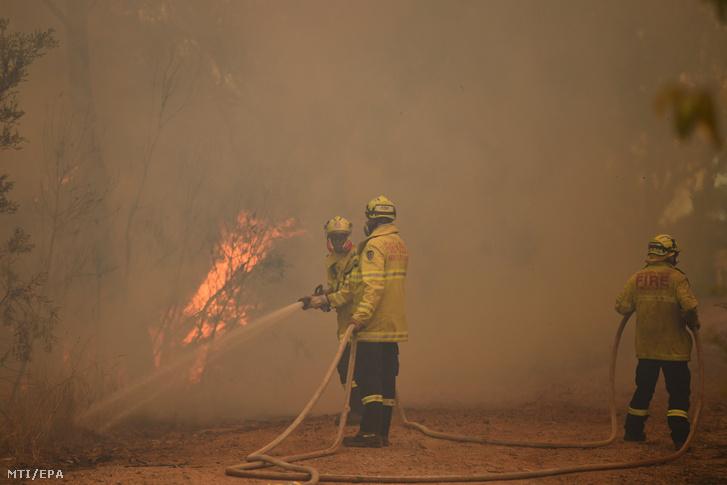 Tűzoltók az Új-Dél-Wales állambeli Blue Mountains Nemzeti Parkban pusztító bozóttűz füstjében 2019. december 17-én