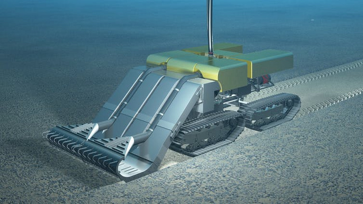 Az egyik mélytengeri bányatársaság által tervezett önjáró, polimetallikus csomókat gyűjtő gép