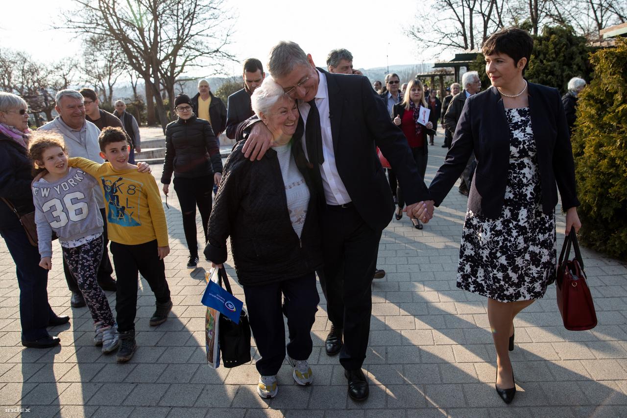 Gyurcsány Ferenc és Dobrev Klára a DK kampányzáró rendezvényén 2018. április 6-án.