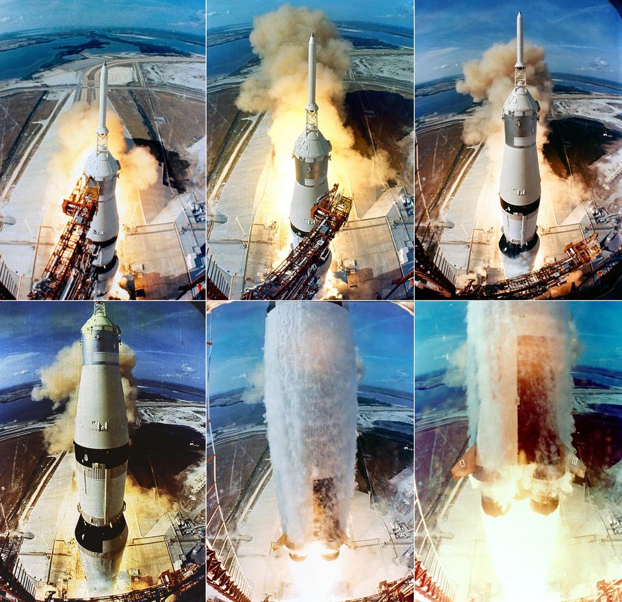 Mérföldkő az emberiség történetében, a nap, amin az addig folyamatos lemaradásban lévő Egyesült Államok megnyerte a Szovjetunióval szemben az űrversenyt: 1969. július 16-án elstartolt a Hold felé az Apollo-11. Neil A. Armstrong, Michael Collins és Edwin E. Aldrin a Kennedy Űrközpont 39A startállásáról indult, hogy négy nappal később Armstrong és Aldrin első emberként tehessék lábukat egy másik égitestre.