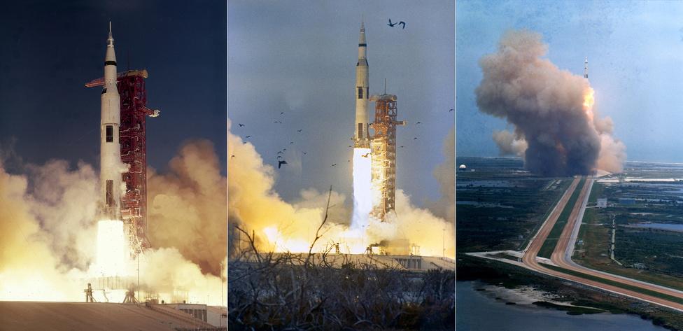 1968. december 21., 1969. március 3. és május 18.: az Apollo-8, -9 és -10 űrhajók startja. 1968 karácsonyán az Apollo-8 fedélzetén először kerülte meg ember (Frank Borman, James A. Lovell és William Anders) a Holdat, az Apollo-9 legénysége (James A. McDivitt, David R. Scott és Russell L. Schweickart) Föld körüli pályán gyakorolta a holdutazás bonyolult manővereit, míg az Apollo-10 űrhajósai (Thomas P. Stafford, John W. Young és Eugene A. Cernan) a holdraszállás kivételével minden feladatot végrehajtottak, ami a holdutazás során tervbe volt véve.