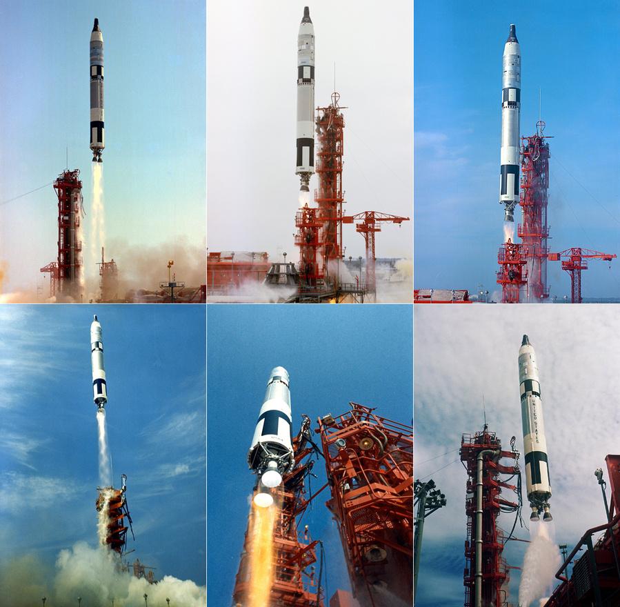 A többi Gemini-küldetés startjával már nem volt különösebb gond. 1. kép: 1965. június 3. A Gemini-Titan 4 (GT-4) startja a 19-es indítóállásról. Az űrhajó fedélzetén James McDivitt és társa, Ed White, az első amerikai űrhajós, aki űrsétát tett. 2. kép: 1965. december 4. A Gemini-7 startja Frank Borman és Jim Lovell űrhajósokkal, akik két hetet töltöttek az űrben, közben randevúztak egyet a Gemini-6A űrhajóval (a két Gemini kapszula 30 centiméter távoloságra közelítette meg egymást). 3. kép: 1965. december 15. Gemini-6 immár sikeres startja. 4. kép: 1966. március 16. A Gemini-8 startja. Neil A. Armstrong és David R. Scott a küldetés során sikeresen dokkolt az Agena személyzet nélküli űrhajóval. A küldetés azonban ezek után nem ment simán (finoman szólva): a Gemini egyik fúvókája meghibásodott és a csaknem végzetes pörgésbe kezdő űrhajón csak szétkapcsolódás után tudott úrrá lenni Armstrong. Az amerikai űrprogram történetének első kényszerleszállását eredményezte a hiba. 5. kép: 1966. június 3. A Gemini-9A star