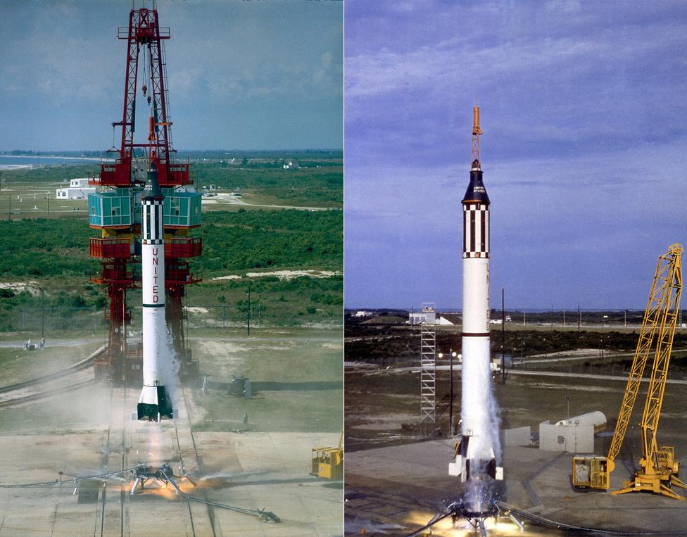 Balra: 1962. február 20. A Mercury-Atlas MA-6 rakéta startja, csúcsán, a Friendship 7 űrkapszulában John H. Glenn ül, az első amerikai űrhajós, aki Föld körüli pályán megkerülte - háromszor - bolygónkat. Jobbra: 1962. május 25. A Mercury-Atlas MA-7 rakéta startja, csúcsán, az Aurora  7 űrkapszulában  Scott Carpenter ül, a második amerikai űrhajós, aki Föld körüli pályán megkerülte - ugyancsak háromszor - bolygónkat. (Fél év múlva az ötödik Mercury-űrhajós, Wally Schirra már hatszor kerüli meg a Földet.)
